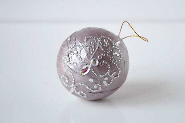 Painted Paper Mache Ornament with Rhinestones