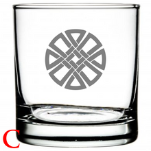Load image into Gallery viewer, Personalized Whiskey Glass Celtic Design Celtic Symbol