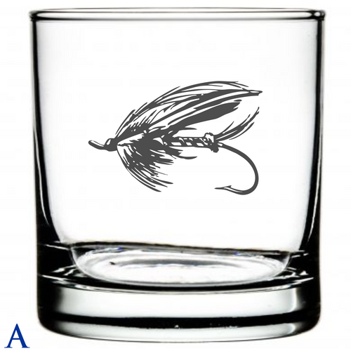 Laser Etched Fly Fishing Glasses  Motif