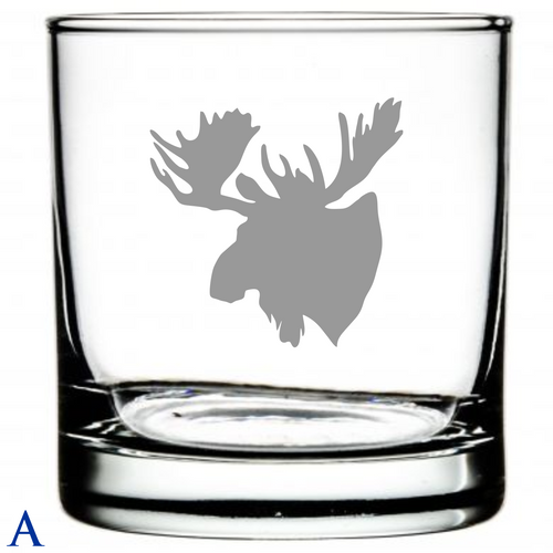 Laser Etched Glasses Hunting Motif