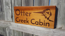 Load image into Gallery viewer, Home & Cottage Sign Pool sign Address sign Cabin sign Lake sign Red Cedar Your Design