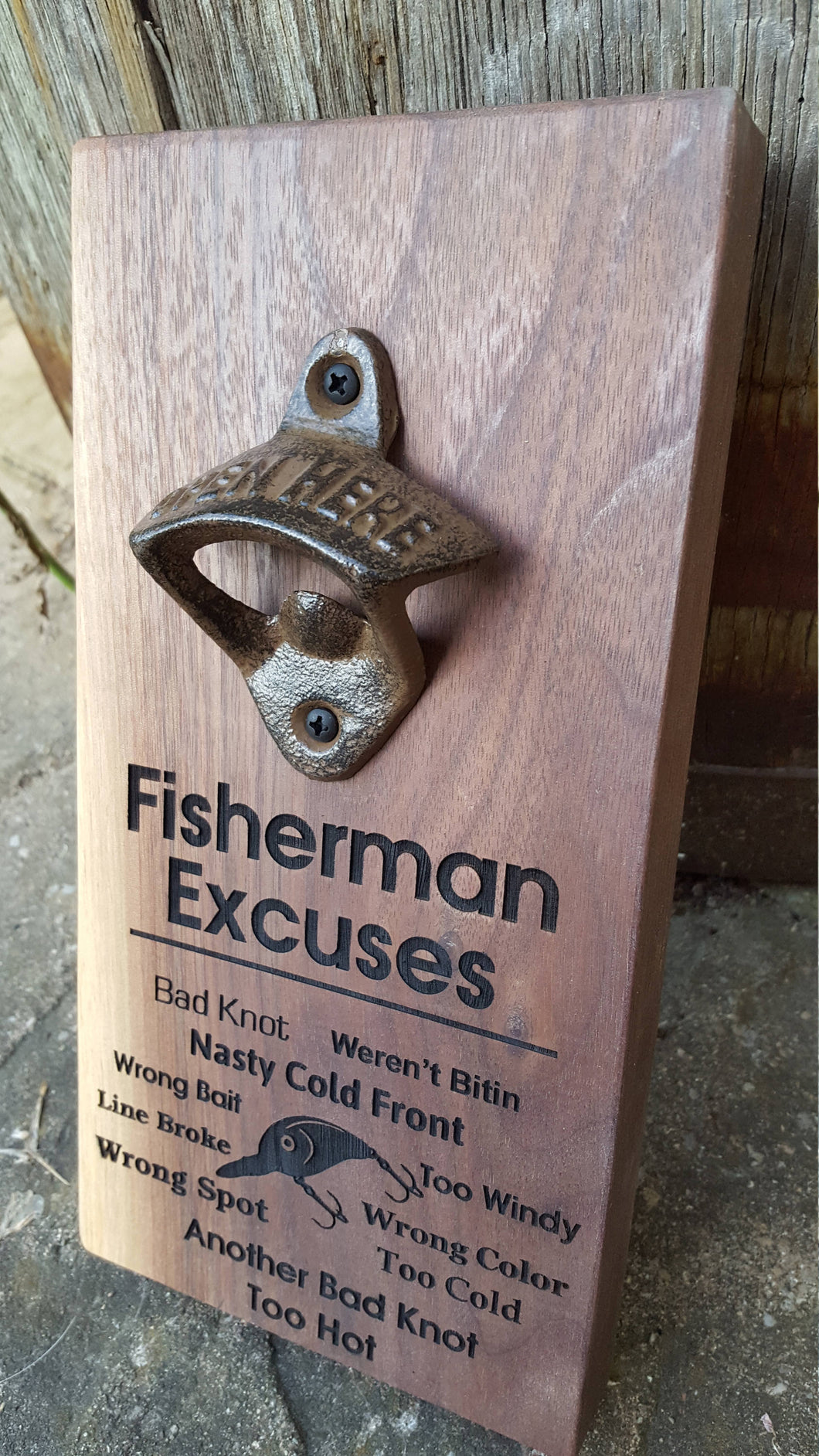 Personalised Wall Mount Bottle Opener Laser Engraved Fisherman Excuses Fish Sayings
