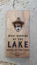 Load image into Gallery viewer, Personalised Wall Mount Bottle Opener Laser Engraved The Lake