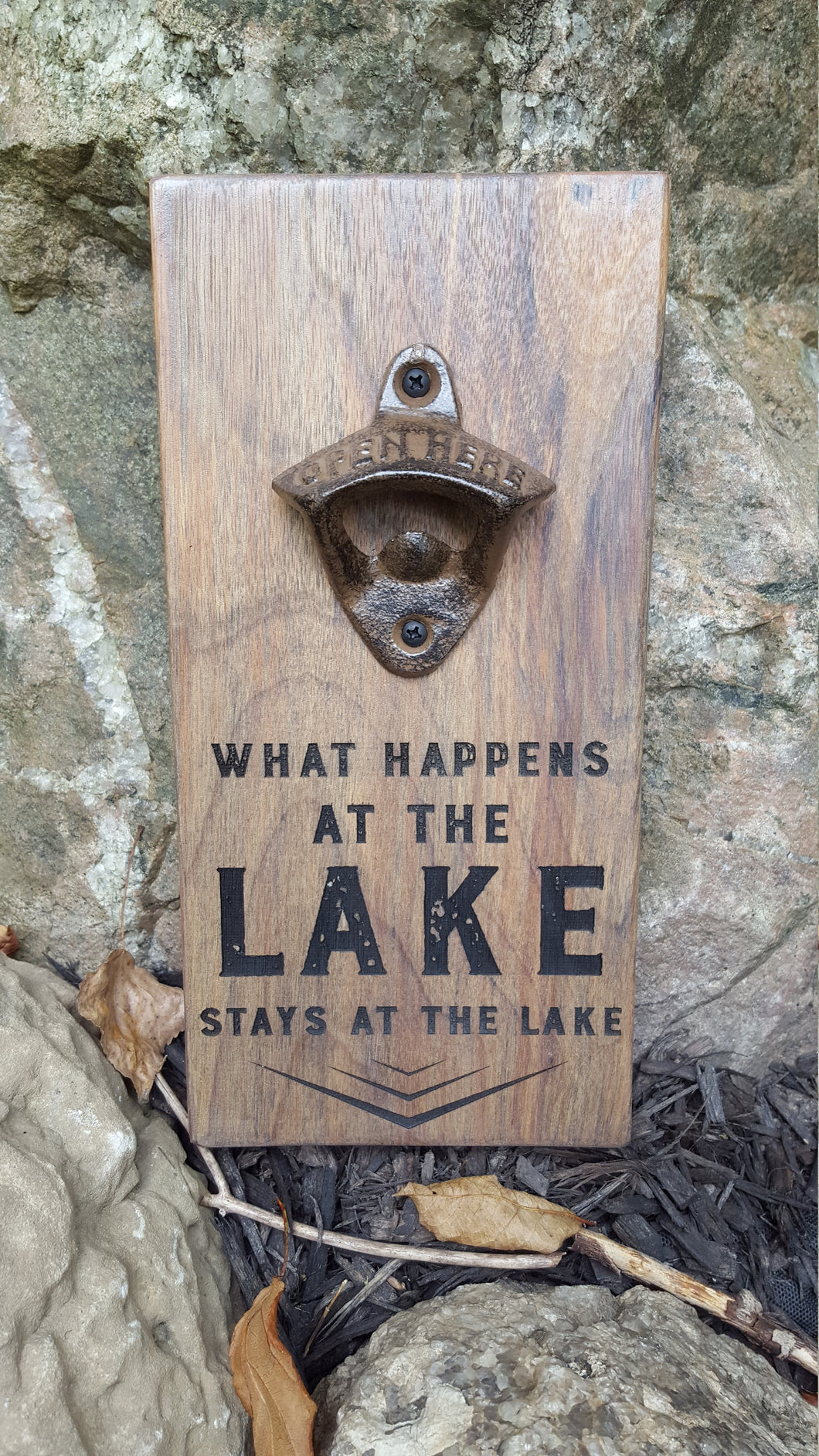Personalised Wall Mount Bottle Opener Laser Engraved The Lake