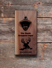 Load image into Gallery viewer, Personalised Wall Mount Bottle Opener Laser Engraved Deer Camp