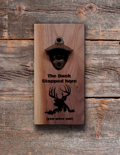 Personalised Wall Mount Bottle Opener Laser Engraved Deer Camp