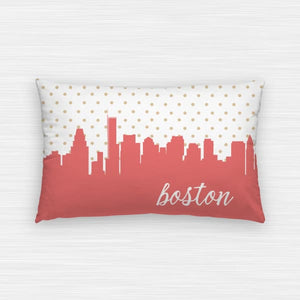 Boston Massachusetts polka dot skyline - Pillow | Lumbar / Salmon - Polka Dot Skyline