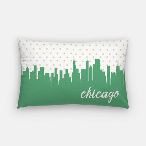 Chicago Illinois polka dot skyline - Pillow | Lumbar / LimeGreen - Polka Dot Skyline