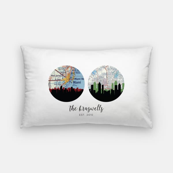 Choose Your Own Adventure | 2 City Custom Map Pillow - Pillows