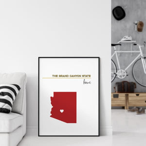 Customizable Arizona state art - LemonChiffon / FireBrick - Customizable