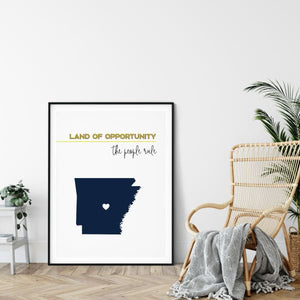 Customizable Arkansas state art - LemonChiffon / Black - Customizable