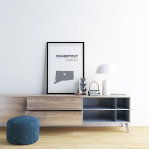 Customizable Connecticut state art - LightGray / LightGray - Customizable