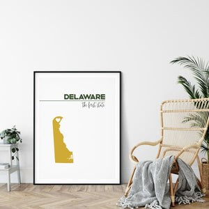 Customizable Delaware state art - ForestGreen / Gold - Customizable