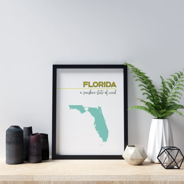 Customizable Florida state art - LemonChiffon / Turquoise - Customizable