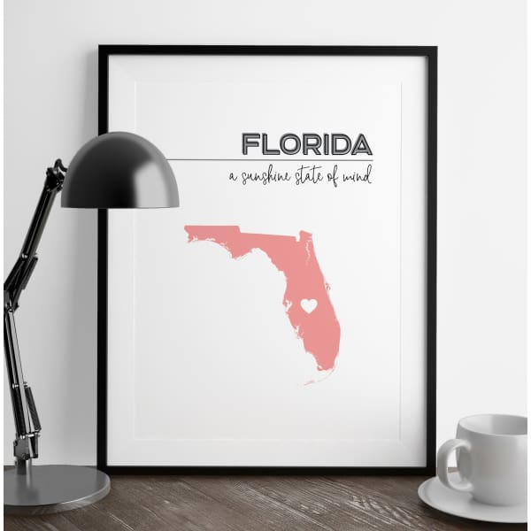 Customizable Florida state art - LightGray / Pink - Customizable