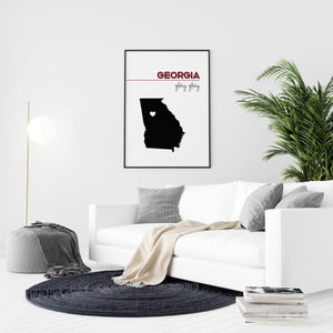 Customizable Georgia state art - FireBrick / Black - Customizable