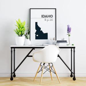 Customizable Idaho state art - LightGray / Black - Customizable