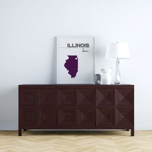 Customizable Illinois state art - LightGray / Fig Purple - Customizable