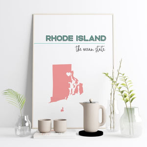Customizable Rhode Island state art - Customizable