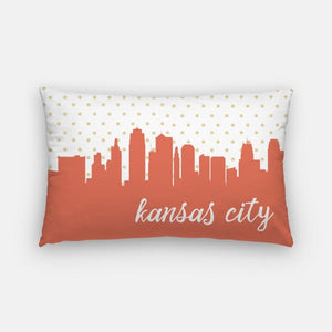 Kansas City Missouri polka dot skyline - Pillow | Lumbar / Salmon - Polka Dot Skyline