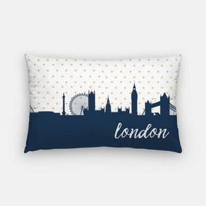 London England polka dot skyline - Pillow | Lumbar / Navy - Polka Dot Skyline