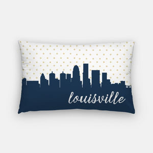 Louisville Kentucky polka dot skyline - Pillow | Lumbar / Navy - Polka Dot Skyline