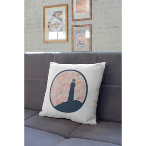 Nantucket Collection | Pink and Blue Lighthouse throw pillow - Pillows