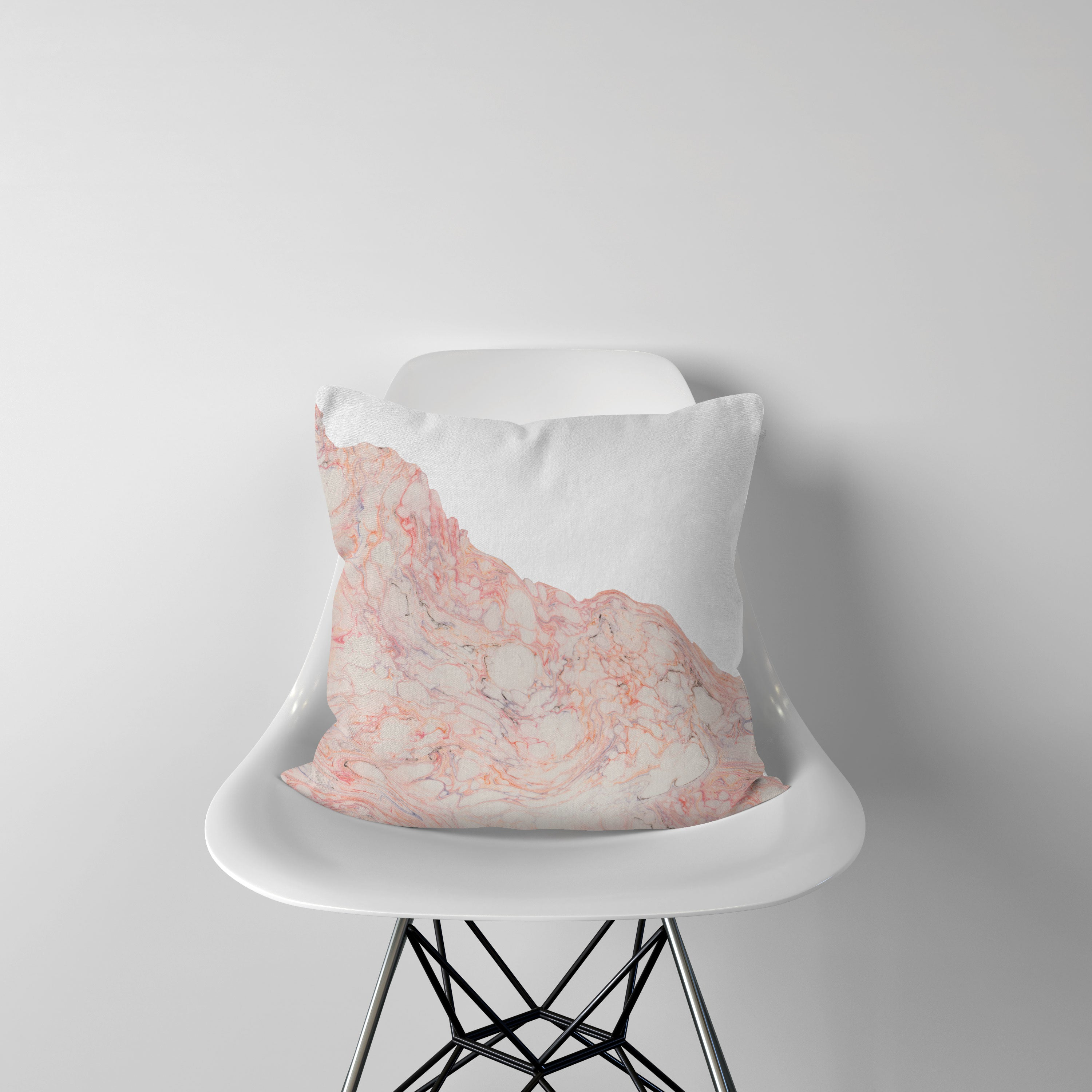 Pink and white marble pattern pillow