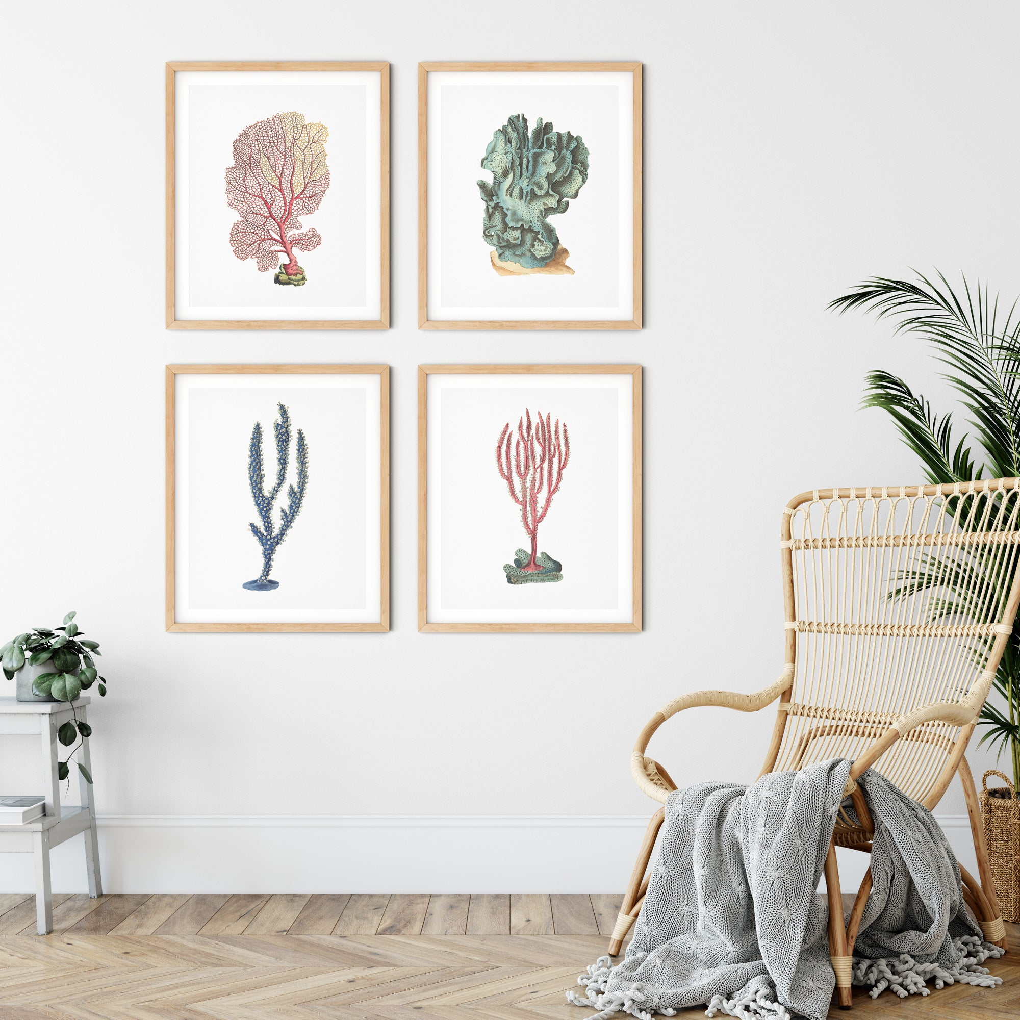 Set of 4 pink and blue nautical coral art prints