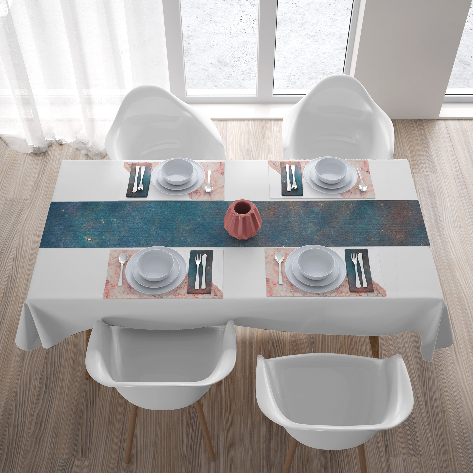Pink and blue coastal inspired napkins placemat table runner