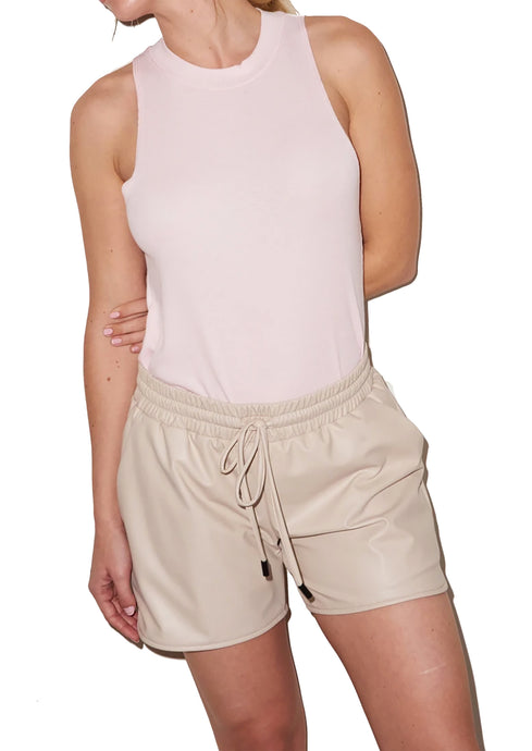 Faux Leather Short in Bone