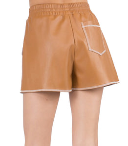 Vegan Leather Shorts in Camel