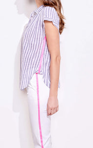 Stripe Short Sleeve Henley Top
