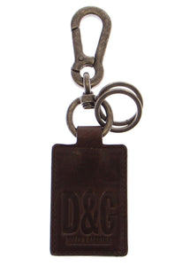 Leather Metal Unisex Ring Keychain  - designer apparel and accessories