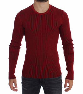 Red Silk Crewneck Ribbed Sweater  - designer apparel and accessories