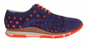 Sneaker Shoes Purple Leather Orange Sport  - designer apparel and accessories