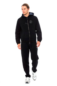 Black Cotton Hooded Sweatsuit  - designer apparel and accessories