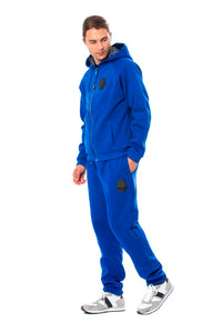 Blue Cotton Hooded Sweatsuit  - designer apparel and accessories