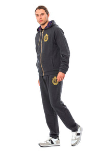 Gray Cotton Hooded Sweatsuit  - designer apparel and accessories