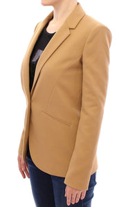 Beige One Button Blazer Jacket  - designer apparel and accessories