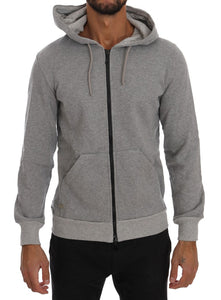 Gray Full Zipper Hodded Cotton Sweater  - designer apparel and accessories