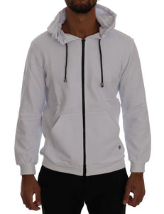 White Full Zipper Hodded Cotton Sweater  - designer apparel and accessories
