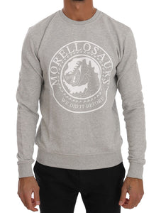Gray Cotton Crewneck Pullover Sweater  - designer apparel and accessories