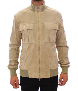 Beige suede leather jacket coat  - designer apparel and accessories