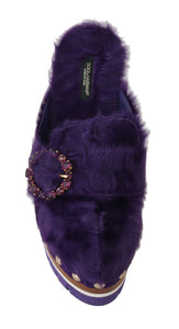 Purple Xiangao Fur Crystal Mules  - designer apparel and accessories