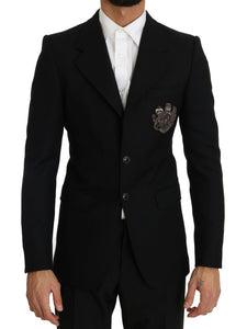 Black Wool Embroidered Blazer  - designer apparel and accessories