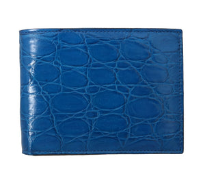 Blue Caiman Alligator Bifold Wallet  - designer apparel and accessories