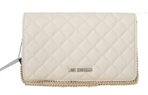 White Quilted Faux Leather Messenger Bag  - designer apparel and accessories