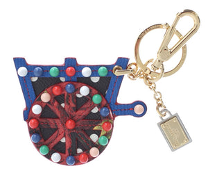 Multicolor Leather Cart Wheel Gold Keychain  - designer apparel and accessories