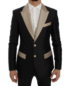 Black Beige Silk Slim Blazer Jacket  - designer apparel and accessories